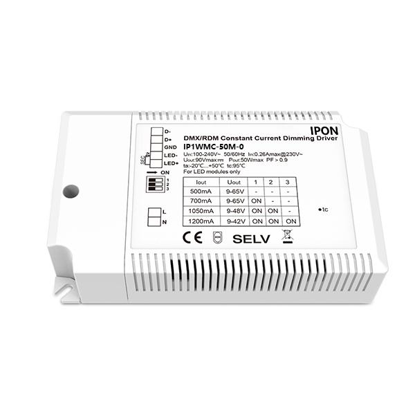 50W 500~1200mA CC DMX Driver IP1WMC-50M-0