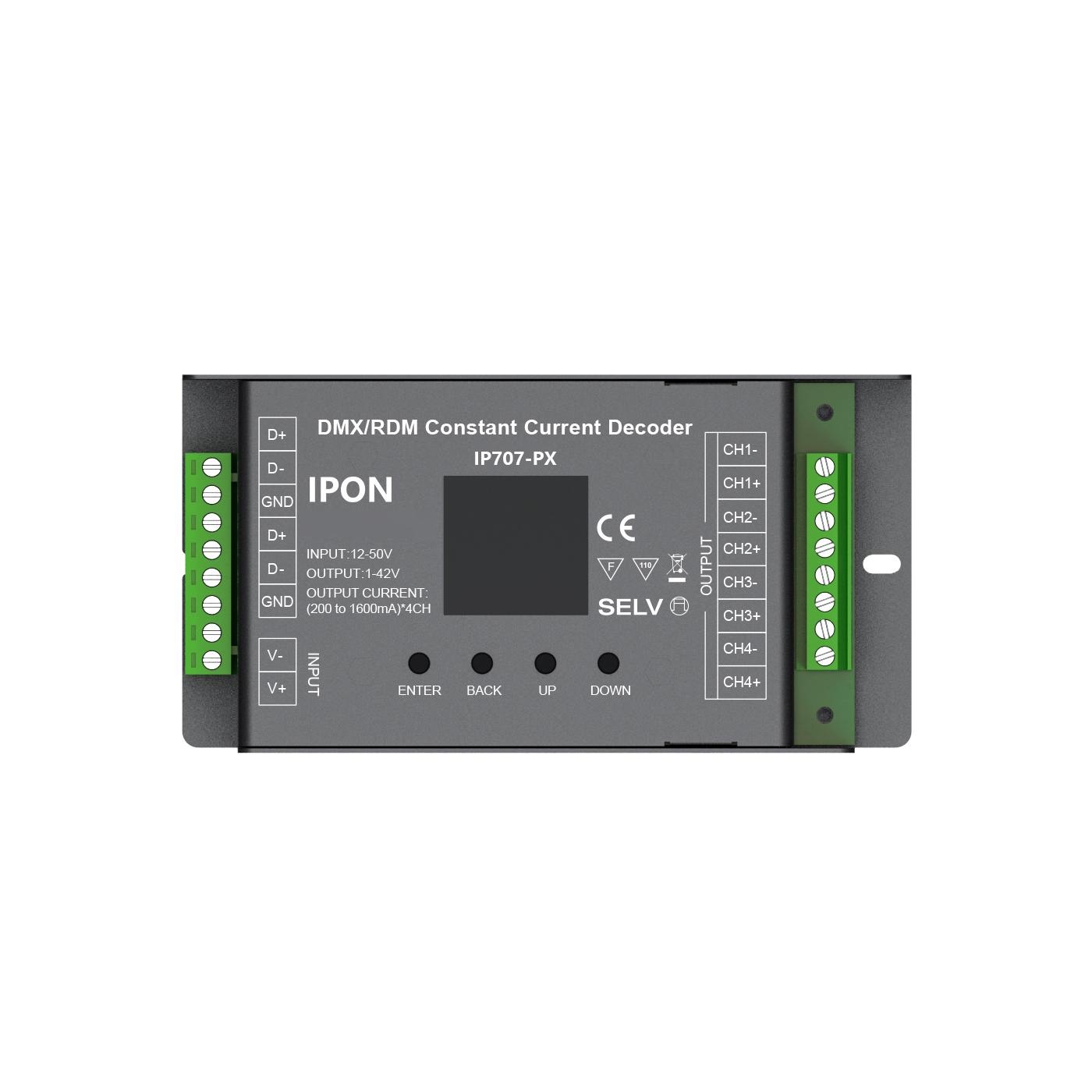 4ch 200~1600mA DMX512RDM CC Decoder IP707-PX