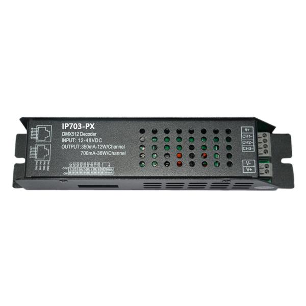 350700mA3ch 12-48VDC CC DMX Decoder IP703-PX