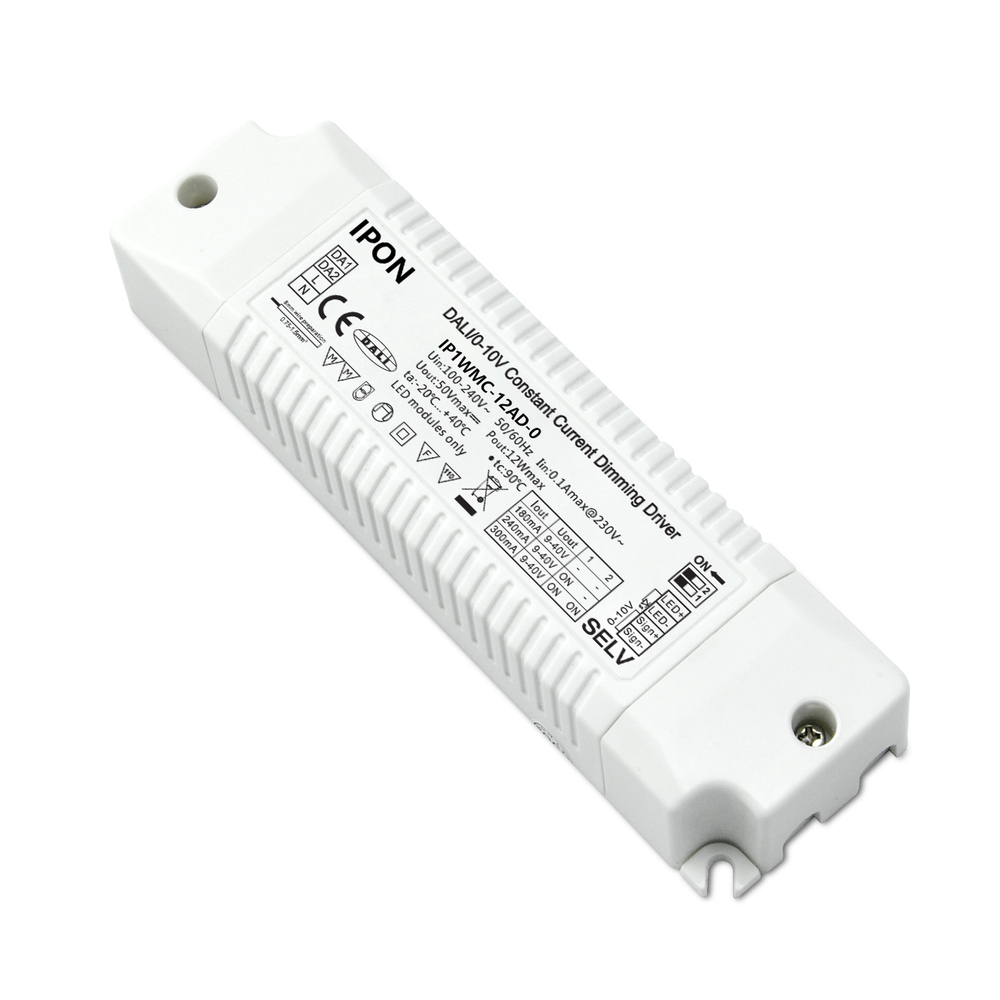 12W 180,240,300mA CC DALI,0-10V Driver IP1WMC-12AD-0
