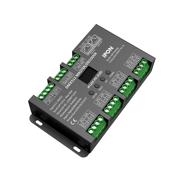 720~1440W 5A*12ch CV DMX Decoder IP1205-PX-OLED